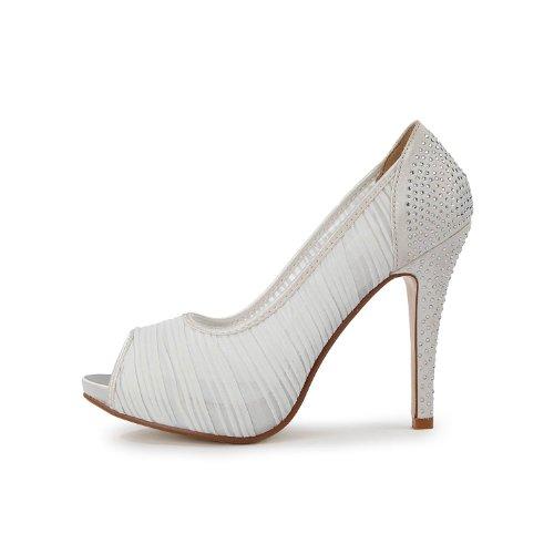 Fabric Womens TH13134 Sandals White Parting Dress TDA High Chiffon Heel Stiletto Wedding Evening Bridal YRZ5q