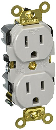 Leviton 5262-GY 15-Amp, 125 Volt, Industrial Extra Heavy Duty Grade, Duplex Receptacle, Straight Blade, Self Grounding, (Heavy Duty Duplex Outlet)