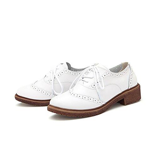 T-july Womens Western Oxfords Shoes - Scarpe Traspiranti Traforate Con Punta Arrotondata E Zeppa Bianca