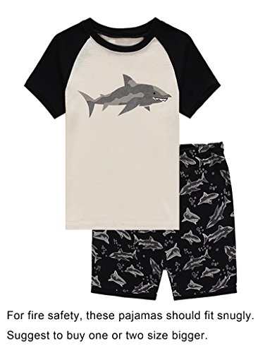 Family Feeling Shark Big Boys Shorts Set Pajamas 100% Cotton Sleepwear Toddler Kids Size (Boys Pjs Sleepwear)