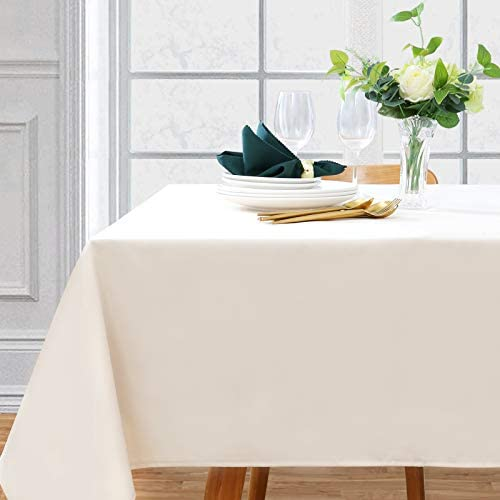 Rectangle Tablecloth Beige 60x120 Inch Wrinkle Resistant Table Cloth Decorative Fabric Table Cover for Kitchen Dining Holiday Bridal Shower Party Table Decorations