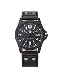 Baishitop Vintage Classic Mens Waterproof Watches sports Wristwatch-Black