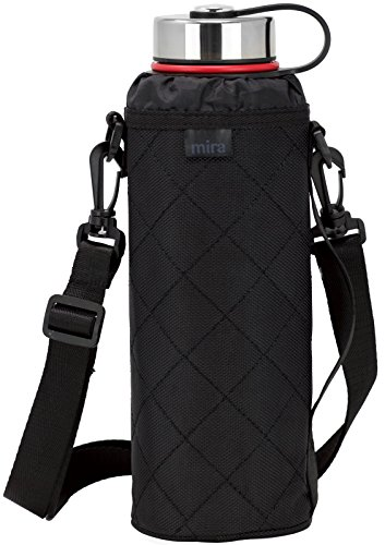 MIRA Water Bottle Carrier for 40 oz Wide Mouth Vacuum Insulated Stainless Steel Bottles | Fits, Hydro Flask, Camelbak, Takeya and Other Wide Mouth Bottles | Black Ballistic Nylon