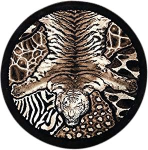 Skinz Animal Skin Round Leopard Tiger Zebra Print Rug Black Design 72 (5 Feet X 5 Feet)