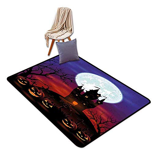 Room Bedroom Floor Rug Halloween Gothic Haunted House Castle Hill Valley Night Sky October Festival Theme Print Hard and wear Resistant W63 xL102 Multicolor -