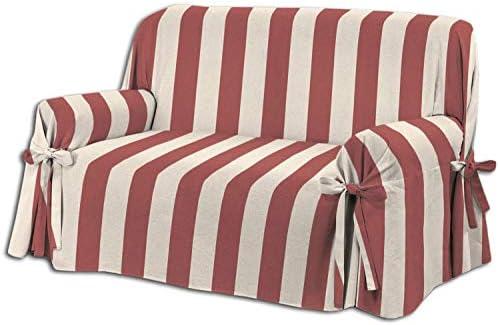 HomeLife – Cubre sillón – Elegante Protector de sofás a Rayas – Funda de sofá de algodón para Proteger del Polvo, Las Manchas y el Desgaste, Fabricado en Italia – Beige/Rojo: Amazon.es: Hogar