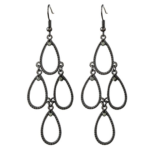 D EXCEED Jewelry Metal Teardrop Shaped Chandelier Tiered Dangle Earrings for Women (Hematite / Black Diamond)