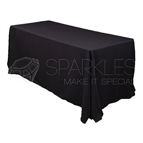 Sparkles Make It Special 10-pcs 90'' x 156'' Inch Rectangular Polyester Cloth Fabric Linen Tablecloth - Wedding Reception Restaurant Banquet Party - Machine Washable - Black by Sparkles Make It Special