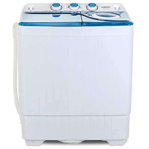 KUPPET Compact Twin Tub Portable Mini Washing Machine 26lbs Capacity, Washer(18lbs)&Spiner(8lbs)/Built-in Drain Pump/Semi-Automatic (White&Blue)