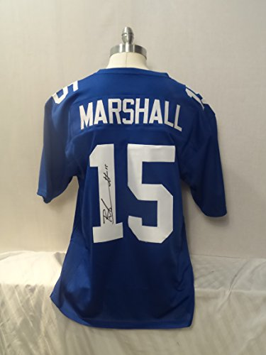 Brandon Marshall Signed Blue Custom Autographed Pro-style Novelty Custom (Autographed Authentic Style White Jersey)