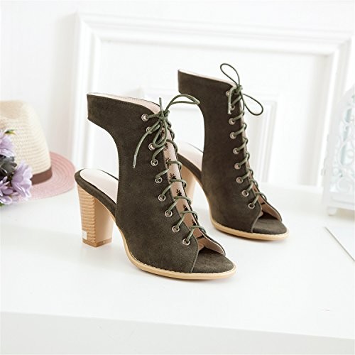 Faux Suede Army Slingback Heels Odetina Sexy Green Lace Up Open Pumps Toe Stacked Women's EwCFqC5