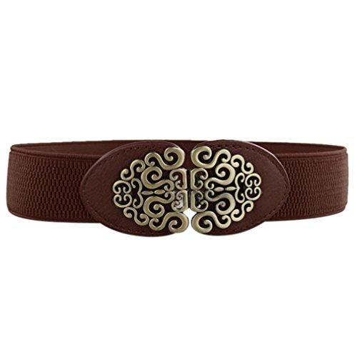 New Alloy Flower Vintage Leather Belt Lady Elastic Stretch Belt Waistband Coffee
