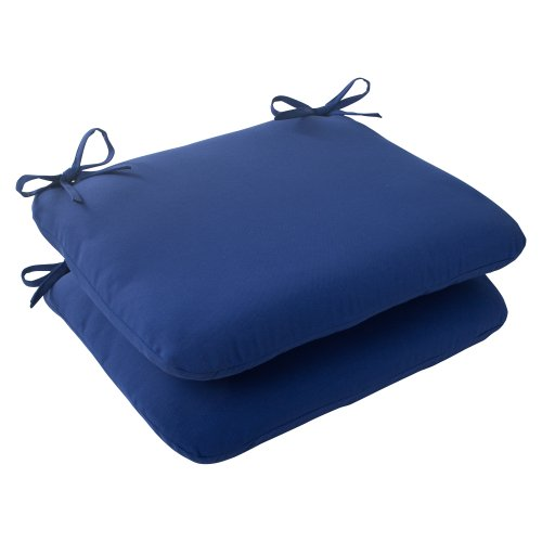 picture of Pillow Perfect Indoor/Outdoor Fresco Rounded Seat Cushion, Navy, Set of 2
