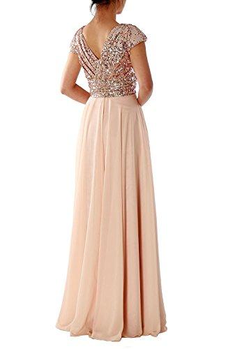 Damen Lang Blush Brautjungfernkleid Abendkleider Hochzeitsfeier LuckyShe für Elegant Chiffon Ballkleid Pailletten dv5nFqw