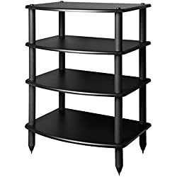 Pangea Audio Vulcan Four Shelf Audio Rack (Black)