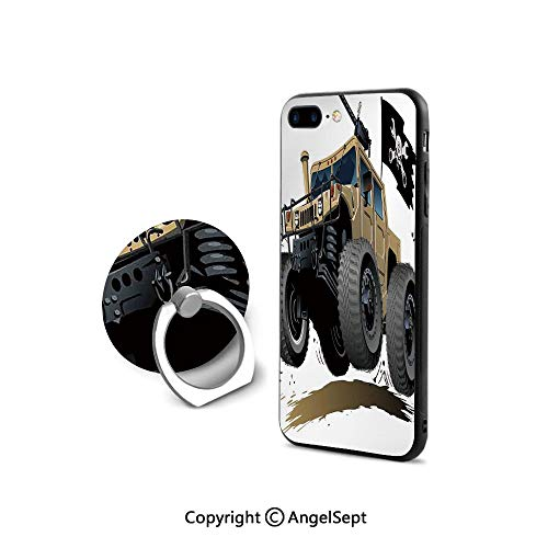 iPhone 8 Case/iPhone 7 Case with Ring Holder Kickstand,Worldwide Off Road Famous Safari Rally Truck with Skull Pirate Flag Camouflage Design,for Girls,Grey Brown