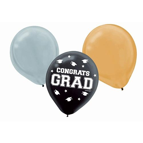 Graduation Black Gold/silver Balloons Package of 72