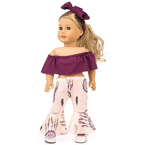 [해외]Lavany 3피스 인형 옷 세트 오프 숄더 탑 바지 45.72cm 미국 소녀 인형 / Lavany 3pcs Doll Clothes Set Off Shoulder Tops Pants for 18 Inch Doll (Purple)