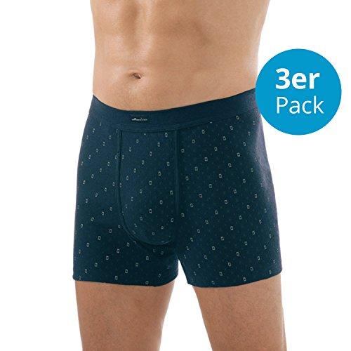 Comazo Herren Unterhose mit Bein Feinripp 3er Pack - 100% Baumwolle - Marine-Blau, Gr. 8 (XXL)