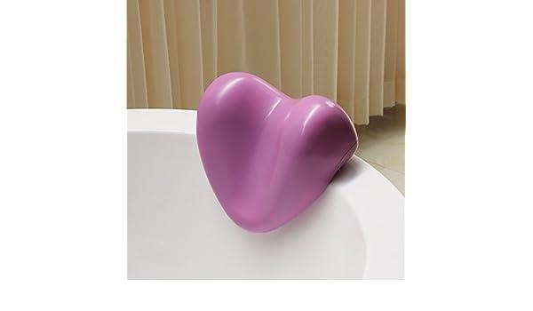 LIUSHU Almohada Bañera Almohada en Forma de Corazón Rosa Ovalada Bañera Almohada con Ventosa, Rosa: Amazon.es: Hogar