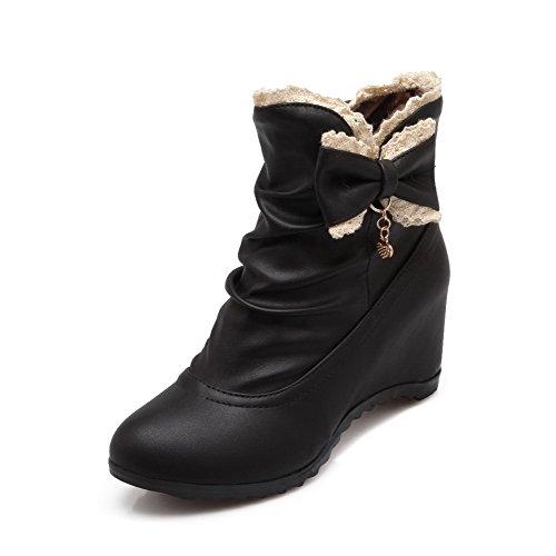 AgooLar Women's Pull-on Round Closed Toe Kitten-Heels PU Low-top Boots Black