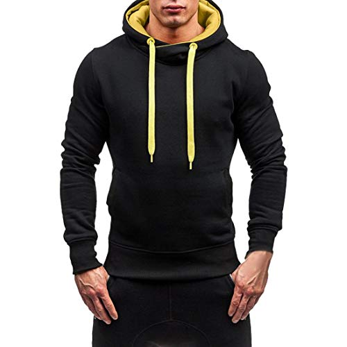 NRUTUP Hoodie Sweatshirt Men's Fashion Casual Splicing Long Sleeve Autumn Winter Blouse Top New (Black, XL)