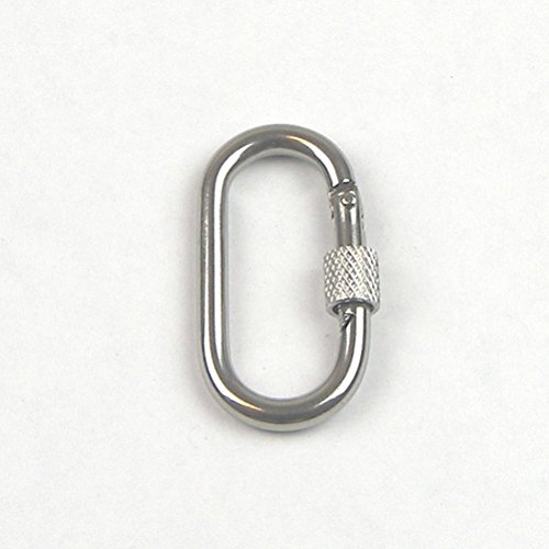 Stainless Steel T316 Oval Straight Snap Hook with Screw Lock- Oblong Carabiner Clip - 5/16