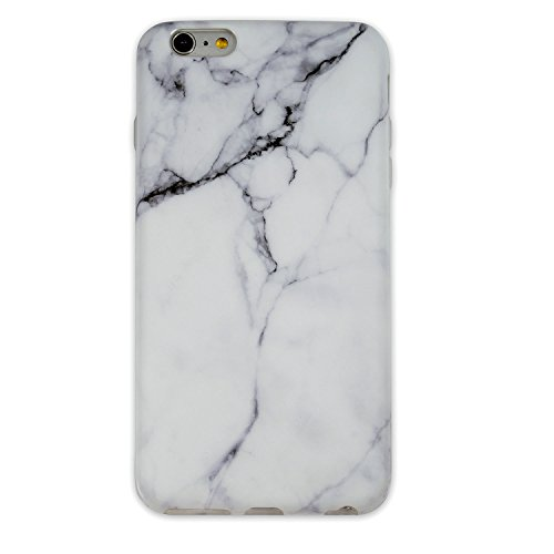 iPhone 6 Plus/ 6S Plus TPU Case Heavy Duty Cover for iPhone 6 5.5-inch Flexible Soft Anti-Scratch Marble Color Series (white black stripe)