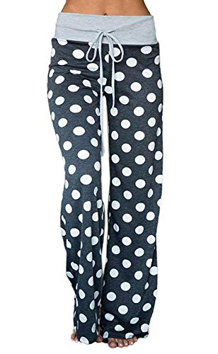 Elsofer Women's Pajama Lounge Pants Floral Print Comfy Casual Stretch Palazzo Drawstring Pj Bottoms Pants Wide Leg (Tag L (US 8), Blue Grey)