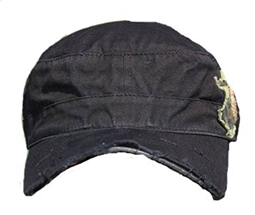 B-Star Unisex Vintage Cotton Cadet GI Style Hat Cap, Black Frayed Bill