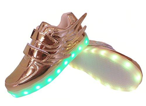 WINNEG Mädchen Wiederaufladbar Led Schuhe Mit Rollen Skateboard Rollschuhe mit ein Rad Gold