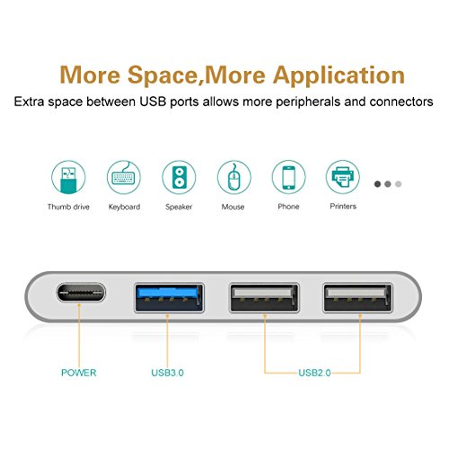 USB-C Hub Portable Multiport Adapter - ikling USB C to USB Adapter with Type C Charging, USB 3.0, USB 2.0 Compatible MacBook Pro, ChromeBook Pixel, Huawei Mate 10, Galaxy and More Type C Devices by ikling (Image #6)