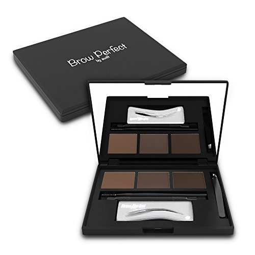 Brow Perfect Eyebrow Kit – 13 Piece Brow Kit – Eyebrow Stencils For Perfect Brows That Frame Your Face! Includes 6 Stencils, 3 Powders, 3 Brushes, Tweezers and a Compact - Your For Face Frames Shape