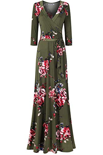 Bon Rosy Women's MadeInUSA 3/4 Sleeve V-Neck Printed Maxi Faux Wrap Floral Dress Summer Wedding Guest Party Bridal Baby Shower Maternity Nursing Olive Pink L