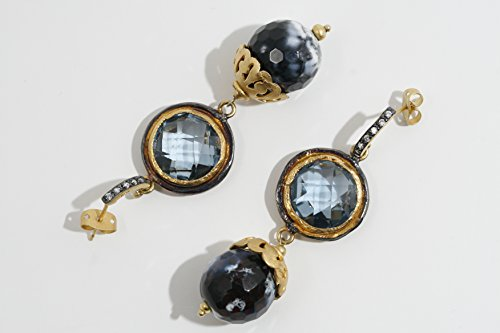 Agate Topaz Ring (Black Agate and Faceted Blue Topaz Drop Earrings)