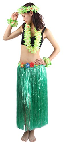 Fighting to Achieve 5pcs/ Set Women's Hawaiian Luau 80cm Green Grass Hula Skirt ()