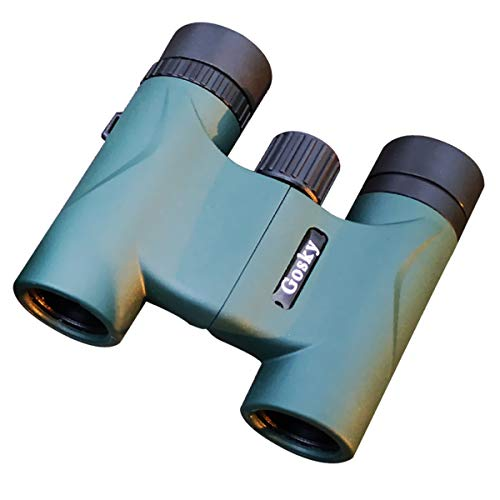 Gosky 10x22 Folding Binoculars ith Weak Light Night Vision Clear Binoculars for Bird Watching Sports Games and Concerts Outdoor -Lightweight and Pocket Size-FMC Green Film Lens and BAK4 Prism