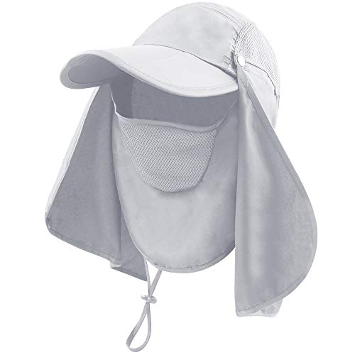 BAVST Men Women Summer Hat Sun Protection Waterproof Baseball Cap (Light Grey)
