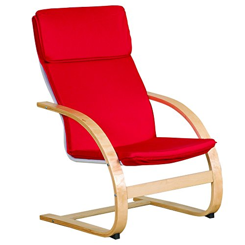 Bentwood Arm (ECR4Kids Natural Bentwood Teacher Comfort Arm Chair for Adults, Birch Finish with Red Cushions)