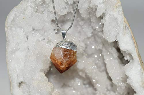Nature's Enlightenment Raw Citrine Point Crystal Pendant with Necklace SP- Reiki Therapy, Grid, Protection, Wicca, - Pendant Citrine Point