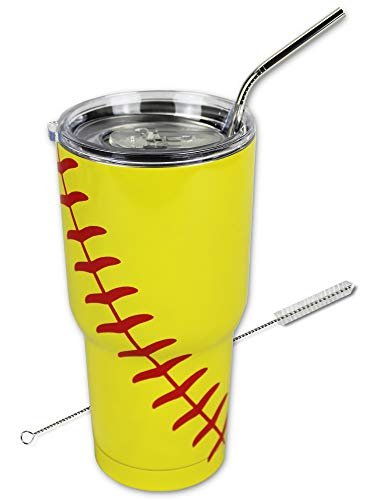Softball Tumbler Cup 30oz Gift for Mom Men Sports Travel Coffee Mug, Stainless Steel, Vacuum Insulated, Keeps Water Cold for 24, Hot for 12 hours (Softball)