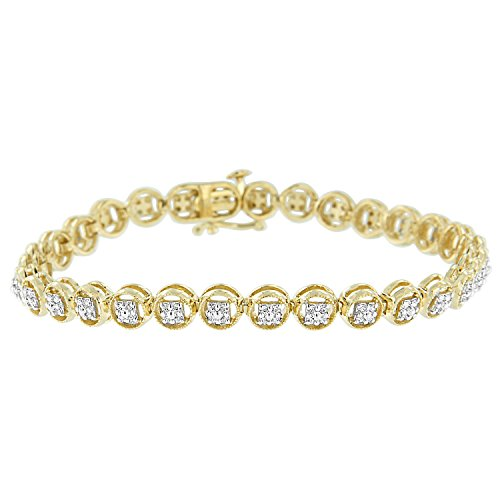 Yellow Gold Plated Sterling Silver Diamond Circle Tennis Bracelet (0.25 cttw, I-J Color, I2-I3 Clarity)