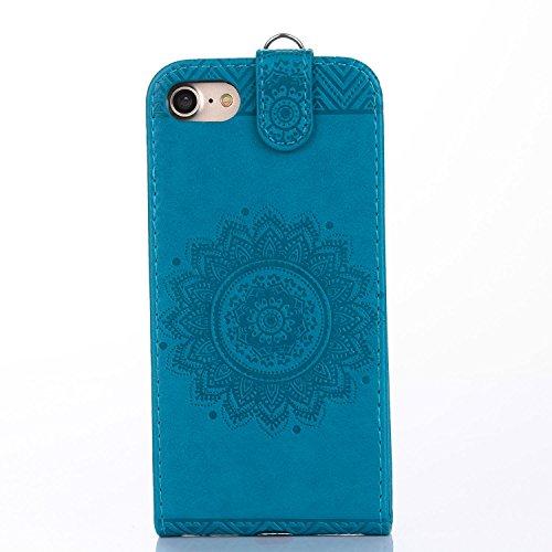Für Apple iPhone 7 (4,7 Zoll) Tasche ZeWoo® Ledertasche Kunstleder Brieftasche Hülle PU Leder Schutzhülle Case Cover - GH016 / blau