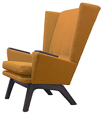 Lewis Interiors Mustard Seed Yellow Upholstered Tall Wingback Lounge Chair  Lewis Tall Lounger LTL Modern Contemporary