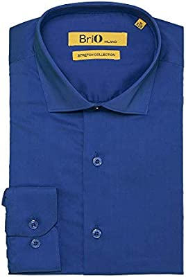 Brio Milano Mens Long-Sleeve Stretch Dress Shirt Multiple Sizes//Colors