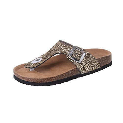 Women's Toe Non Flip Flat Sequins Cork Clip Summer Sandals Beach Slip Gold Thong Flops wwTrR0