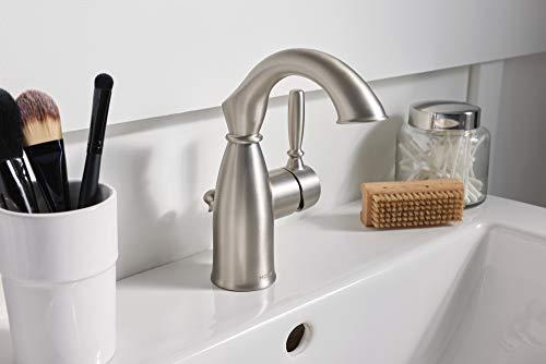 Moen 84144SRN Sarona One-Handle Single Hole Rustic Farmhouse Bathroom Sink Faucet with Optional Deckplate, Spot Resist…