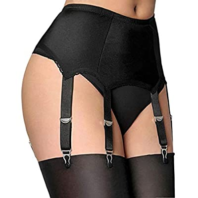 Slocyclub Women Stretchy Garter Belt with 6 Straps for Thigh High Stockings