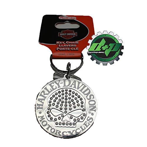 Diesel Power Plus Harley Davidson Motorcycle Bike Hd Willie G Skull Bling Studded Diamond Sparkle Holder Clip Key Chain