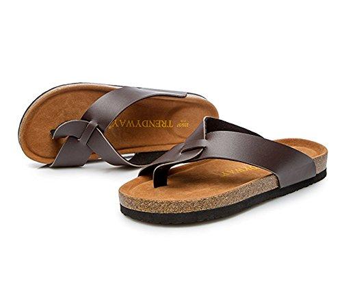 unisex Zapatos Chanclas para abierta de adultos Marrón punta Sandalias con playa Zapatillas de corcho planas vqtRxPpBw